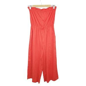 Eyeshadow Red Strapless Jumpsuit Small